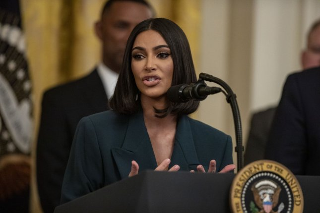 Kim Kardashian speaks during an event about second chance hiring in the East Room of the White House on Thursday. Photo by Alex Edelman/UPI