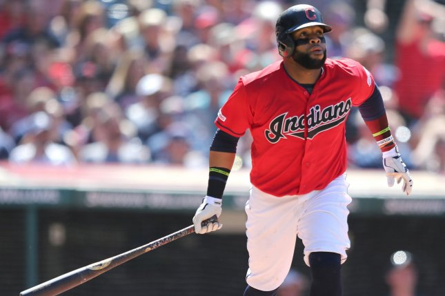 Cleveland Indians first baseman Carlos Santana hit a go-ahead grand slam Sunday before hitting a walk-off homer for the Tribe Monday in Cleveland. File Photo by Aaron Josefczyk/UPI