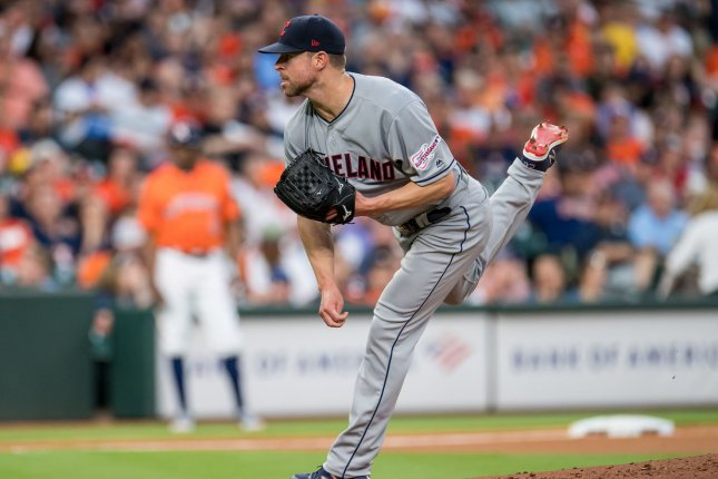 Former Cleveland Indians starting pitcher Corey Kluber (pictured) was traded to the Texas Rangers for outfielder Delino DeShields Jr. and reliever Emmanuel Clase. File Photo by Trask Smith/UPI