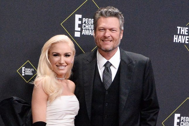 Blake Shelton (R) and his girlfriend, Gwen Stefani, will be taking the stage together at the 2020 Grammy Awards. File Photo by Jim Ruymen/UPI