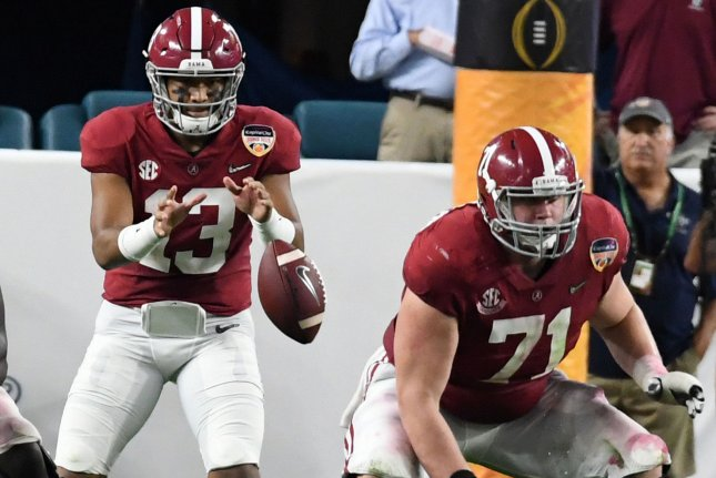 Alabama Crimson Tide quarterback Tua Tagovailoa (13) is expected to be one of the first players selected in the 2020 NFL Draft. File Photo by Gary I Rothstein/UPI