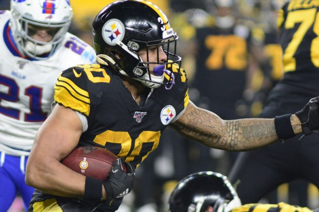 Running back James Conner (30), who signed with the Arizona Cardinals on Tuesday, is expected to split carries with Chase Edmonds in 2021. File Photo by Archie Carpenter/UPI