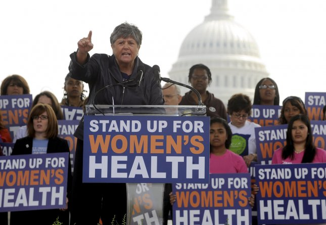 Nancy Keenan, president of NARAL Pro-Choice America, speaks during a pro-choice rally in Washington on April 7, 2011. Republican budget proposals would cut off funding to Planned Parenthood which provides abortion services in addition to other women's health services like family planning and cancer screening. UPI/Roger L. Wollenberg