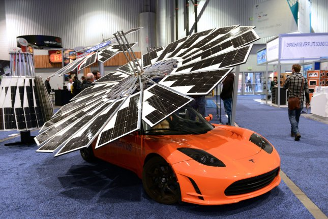The Monarch Lotus Mobile solar power unit is on display at the 2014 International CES, a trade show of consumer electronics, in Las Vegas, Nevada on January 8, 2014. UPI/Molly Riley