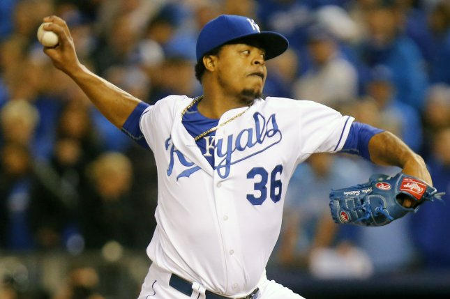 Kansas City Royals pitcher Edinson Volquez pitches against the Toronto Blue Jays in the fifth inning of game 1 of the American League Championship Series at Kauffman Stadium in Kansas City, Missouri on October 16, 2015. Volquez got the win as the Royals shut out the Blue Jays 5-0. Photo by Kyle Rivas/UPI