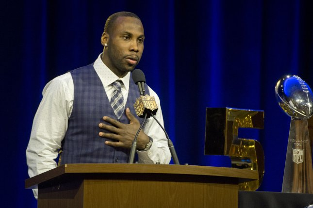 The Walter Payton NFL Man of the Year Award finalist Anquan Boldin, wide receiver for the San Francisco 49ers, speaks to the press at the Media center for Super Bowl 50 in San Francisco on February 5, 2016. Photo by Terry Schmitt/UPI