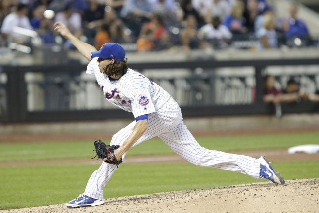 New York Mets starting pitcher Jacob deGrom throws a pitch in the 4th inning. File photo by John Angelillo/UPI