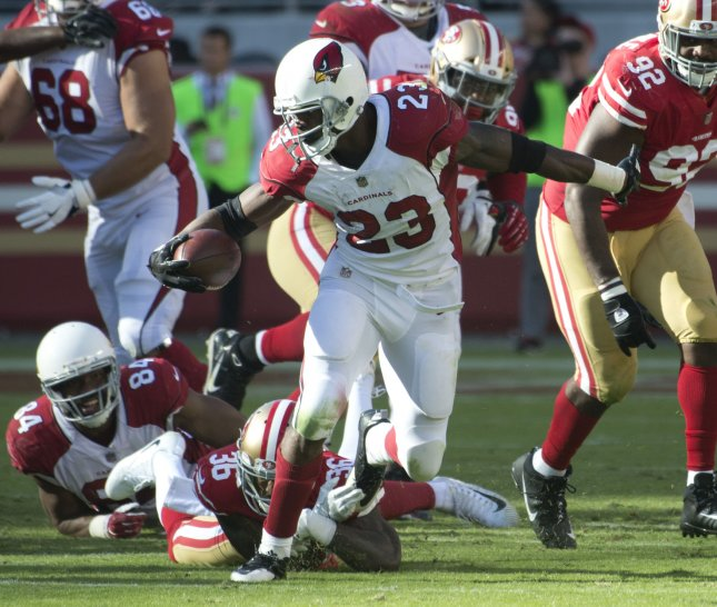 Adrian Peterson and the Arizona Cardinals take on the Houston Texans this weekend. Photo by Terry Schmitt/UPI