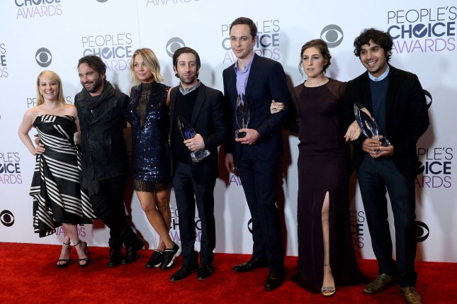 From left, The Big Bang Theory stars Melissa Rauch, Johnny Galecki, Kaley Cuoco, Simon Helberg, Jim Parsons, Mayim Bialik and Kunal Nayyar appear backstage at the 42nd annual People's Choice Awards in Los Angeles on January 6, 2016. File Photo by Jim Ruymen/UPI