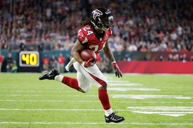 Atlanta Falcons running back Devonta Freeman appeared to throw a punch at Aaron Donald during the third quarter of Sunday's game against the Los Angeles Rams. File Photo by John Angelillo/UPI