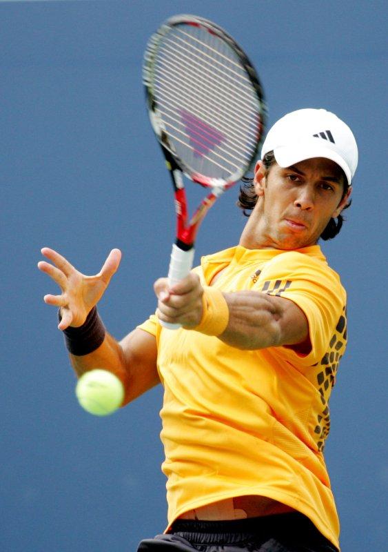 Fernando Verdasco hits a shot to Novak Djokovic at the U.S. on Sept. 9, 2009. UPI Photo /Monika Graff ..