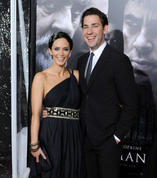 Actress Emily Blunt, a cast member in the motion picture horror thriller The Wolfman, arrives for the premiere of the film with her fiance, actor John Krasinski at the Arclight Cinerama Dome in the Hollywood section of Los Angeles on February 9, 2010. UPI/Jim Ruymen