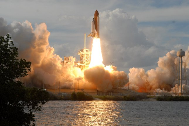 The shuttle Atlantis launches from the Kennedy Space Center in Florida Feb. 7, 2008, en route, with a seven-member crew, to the International Space Station. On Feb. 9, the shuttle delivered a $2 billion European science lab to the ISS. File Photo by Kevin Dietsch/UPI
