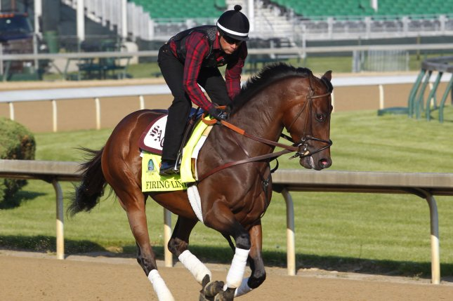 Kentucky Derby hopeful Firing Line gallops on the track during morning workouts at Churchill Downs in Louisville, Kentucky, April 29, 2015. Trainers are preparing their horses to run in the 141st running of the Kentucky Derby to be held at Churchill Downs on May 2. Photo by John Sommers II/UPI