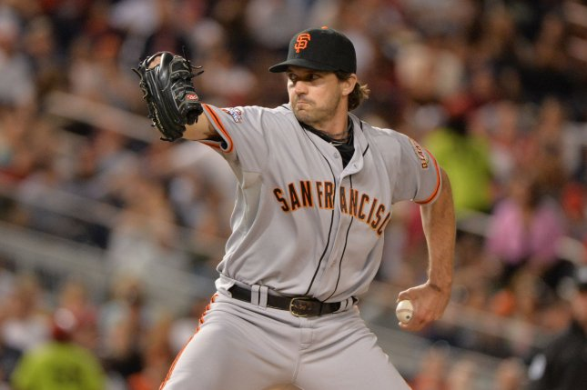 San Francisco Giants pitcher Barry Zito pitches against the Washington Nationals during the eighth inning at Nationals Park on August 14, 2013 in Washington, D.C. UPI/Kevin Dietsch