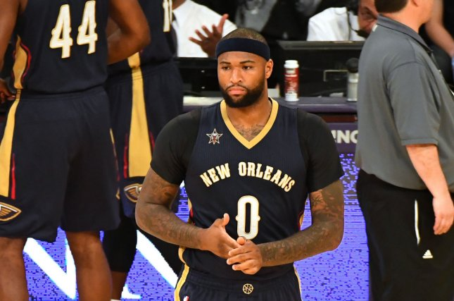 New Orleans Pelicans center DeMarcus Cousins before game against the Lakers at Staples Center in Los Angeles, March 5, 2017. Photo by Jon SooHoo/UPI