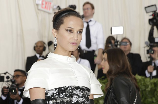 Alicia Vikander arrives on the red carpet at The Metropolitan Museum of Art's Costume Institute Benefit Heavenly Bodies: Fashion and the Catholic Imagination in New York City on May 7. File Photo by John Angelillo/UPI