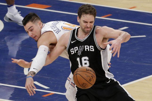 Pau Gasol averaged a career-low 3.9 points and 4.6 rebounds in 30 games with the Bucks and Spurs last season. File Photo by John Angelillo/UPI