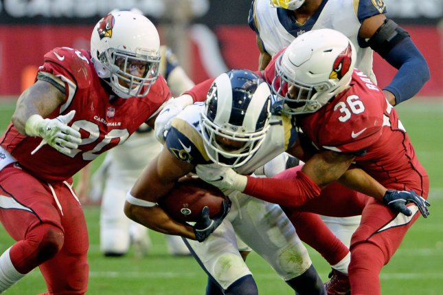 Former Arizona Cardinals defender Deone Bucannon (20) spent last season with the Tampa Bay Buccaneers and New York Giants. File Photo by Art Foxall/UPI