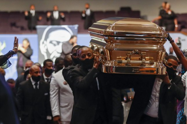Pallbearers carry the casket of George Floyd during his funeral in Houston, Texas, on June 9, 2020. George Floyd died in police custody in Minneapolis on May 25, 2020, during an arrest during which an officer pressed his knee on the back of Floyd's neck for several minutes. File Photo by Godofredo A. Vasquez/UPI/Pool