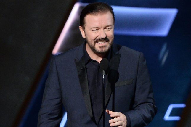 Actor Ricky Gervais appears onstage during the 67th Primetime Emmy Awards in Los Angeles on September 20, 2015. File Photo by Ken Matsui/UPI.