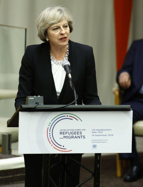 Theresa May, prime minister of the United Kingdom, addresses the summit meeting on the refugees and migrants crisis at the United Nations on September 19 in New York City. File Photo by Monika Graff/UPI