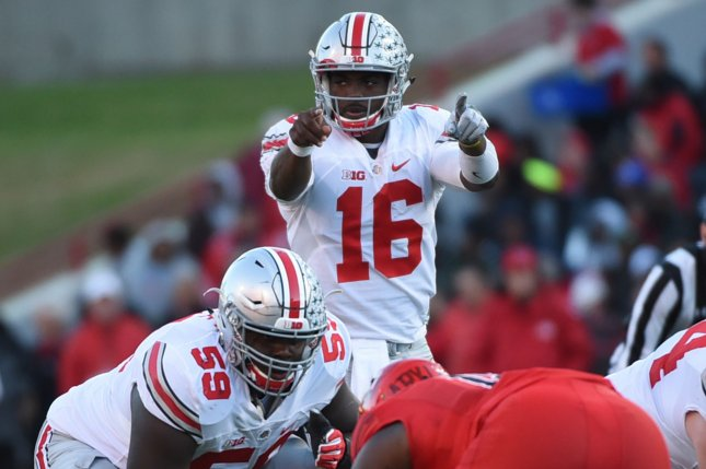 Ohio State Buckeyes quarterback J.T. Barrett (16) signals during a play against Maryland Terrapins during their football game in College Park, Maryland, November 12, 2016. Photo by Molly Riley/UPI