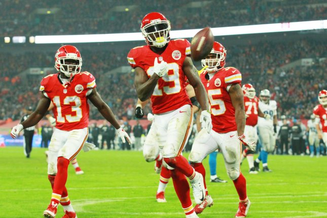 Former Kansas City Chiefs wide receiver Jeremy Maclin scores a touchdown during an International NFL series match against the Detroit Lions at Wembley London on November 1st, 2015. File photo by Sean Dempsey/UPI