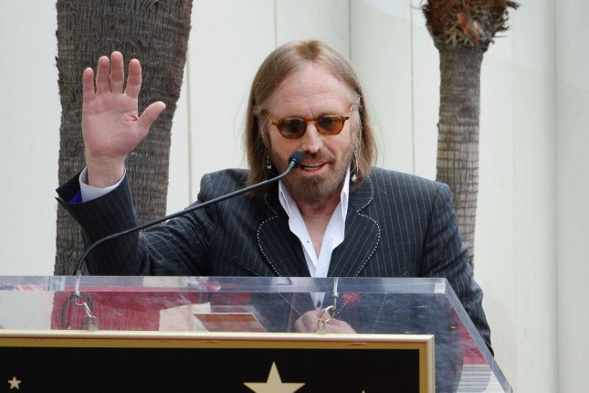 Tom Petty speaks during an unveiling ceremony honoring Jeff Lynne with the 2,548th star on the Hollywood Walk of Fame in Los Angeles on April 23, 2015. The rocker died Monday. File Photo by Jim Ruymen/UPI