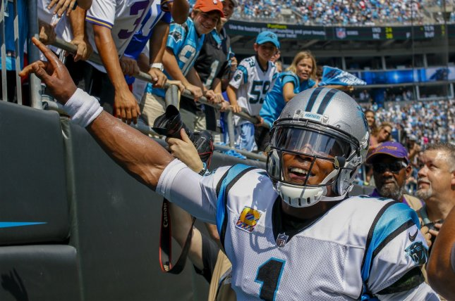 Former Carolina Panthers quarterback Cam Newton was selected by the franchise with the No. 1 overall pick in the 2011 draft. File Photo by Nell Redmond/UPI