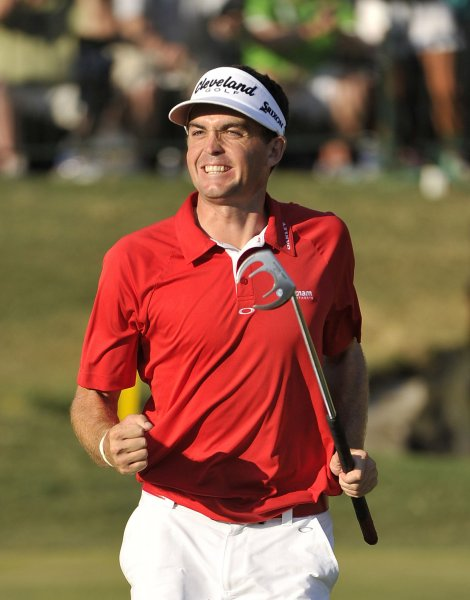 Keegan Bradley, shown during the 2011 PGA Championship, which he ended up winning, teamed with Brendan Steele on Friday and share the lead after the first round of the Franklin Templeton Shootout. UPI/Brian Kersey