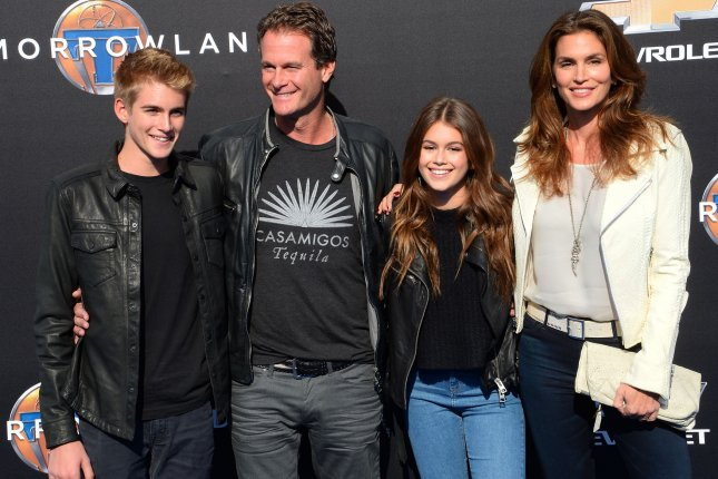 Presley Gerber, Rande Gerber, Kaia Gerber and Cindy Crawford (L-R) attend the Disneyland premiere of Tomorrowland on May 9, 2015. Kaia discussed Crawford in the new issue of Teen Vogue. File Photo by Jim Ruymen/UPI