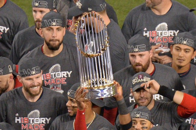 The Boston Red Sox are the betting favorite to claim another Commissioner's Trophy in 2019, followed by their American League East rival, the New York Yankees. File Photo by Jim Ruymen/UPI