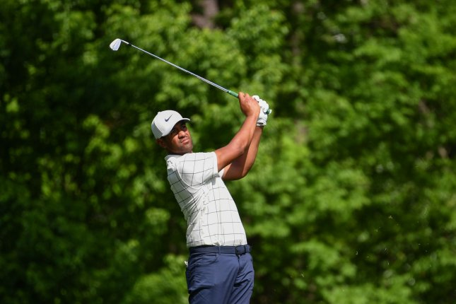 Tony Finau hits on the 11th fairway during the third round of the Masters Tournament at Augusta National Golf Club in Augusta, Georgia, on April 13, 2019. Photo by Kevin Dietsch/UPI