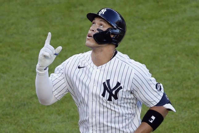 Aaron Judge and the New York Yankees will be one of 28 MLB teams in action Sunday to start the spring training schedule. File Photo by John Angelillo/UPI