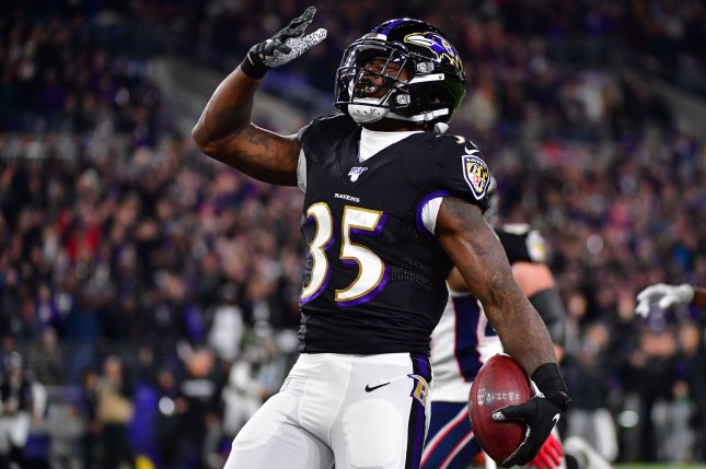 Baltimore Ravens running back Gus Edwards, shown Nov. 3, 2019, became the third Ravens tailback to suffer a season-ending injury in the past two weeks. File Photo by David Tulis/UPI