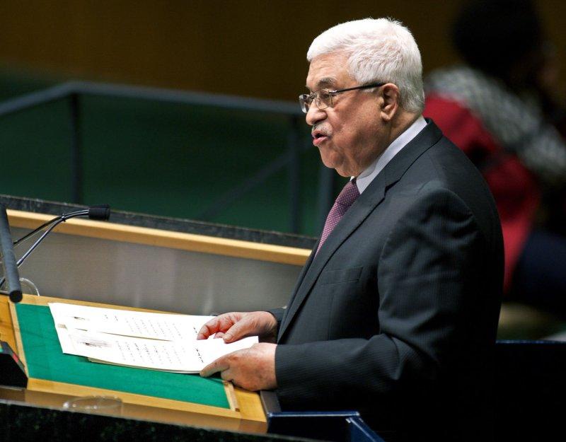 Palestinian Authority President Mahmoud Abbas speaks at the United Nations Nov. 29, 2012. UPI/Monika Graff