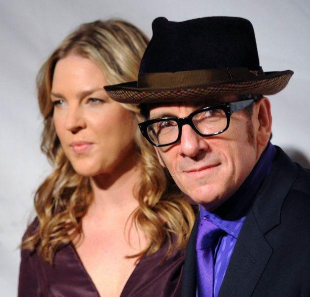 Singer Diana Krall and her husband, musician Elvis Costello arrive at the 2011 MusiCares Person of the Year tribute honoring Barbra Streisand in Los Angeles February 11, 2011. UPI/Jim Ruymen