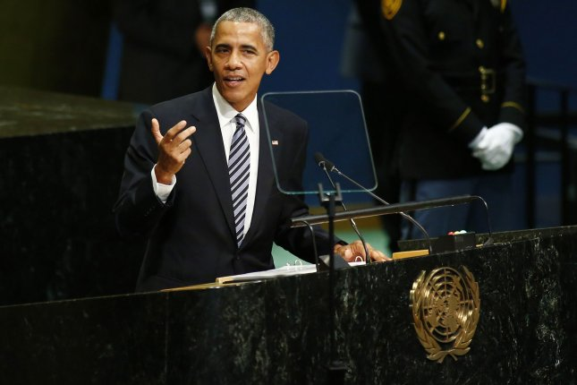 U.S. President Barack Obama addresses the 71st session of the General Debate of the United Nations General Assembly at the U.N. headquarters in New York City on Tuesday. Obama called for the international community to integrate globally in terms of migration and economics. Photo by Monika Graff/UPI