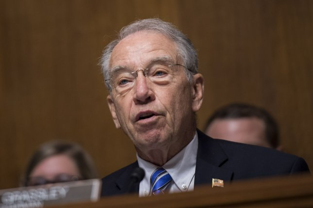Sen. Charles Grassley, R-Iowa, conducted a hearing Tuesday about the potential replacement for the Deferred Action for Childhood Arrivals immigration program. File Photo by Kevin Dietsch/UPI