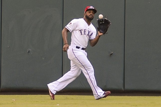 The Texas Rangers will be without Delino DeShields when they face the Baltimore Orioles on Sunday. Photo by Michael Prengler/UPI