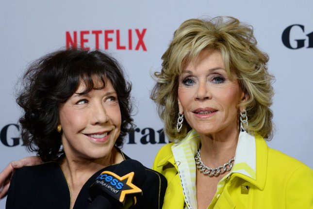 Grace and Frankie stars Lily Tomlin (L) and Jane Fonda. Netflix has renewed the series for a sixth season. File Photo by Jim Ruymen/UPI