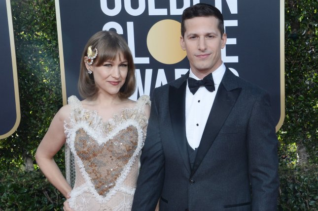 Lonely Island member Andy Samberg (R) with his wife Joanna Newsom. The actor portrays former baseball star Jose Canseco alongside Akiva Schaffer as Mark McGwire in The Unauthorized Bash Brothers Experience. File Photo by Jim Ruymen/UPI