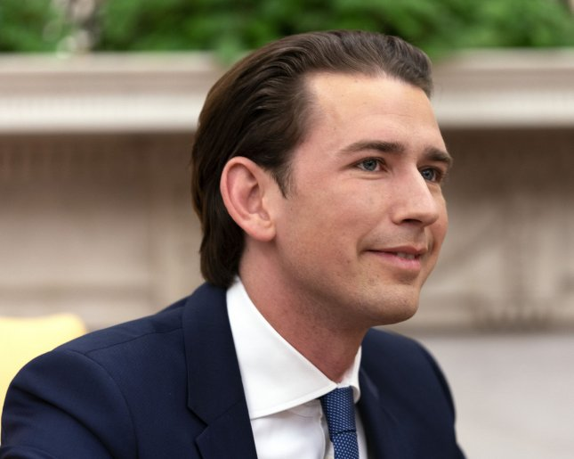 Federal Chancellor Sebastian Kurz, seen here in the White House on February 20, was driven from office on Monday after a no-confidence vote by Austria's parliament. File photo by Chris Kleponis/UPI