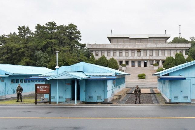 South Korean soldiers stand guard at the joint security area of Panmunjom in the demilitarized zone near Paju, South Korea.  File Photo by Keizo Mori/UPI
