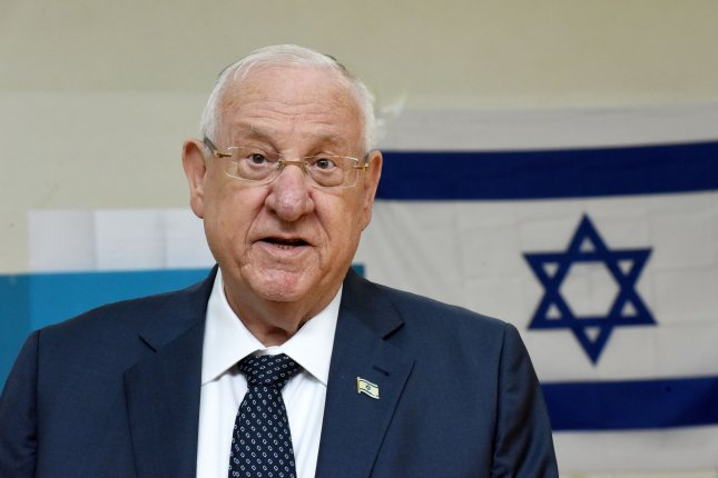 Israeli President Reuven Rivlin makes a statement after casting his ballot in the parliamentary election on March 2, at a polling station in Jerusalem, Israel. File Photo by Debbie Hill/UPI
