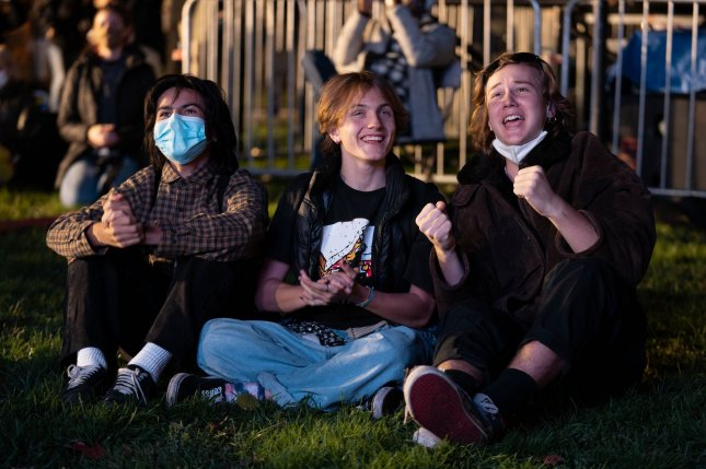 From left to right, Niki Gotzev, Milo Shea and Ryan Thomas of Washington, D.C., watch results at McPherson Square near the White House on Tuesday. Photo by Ken Cedeno/UPI