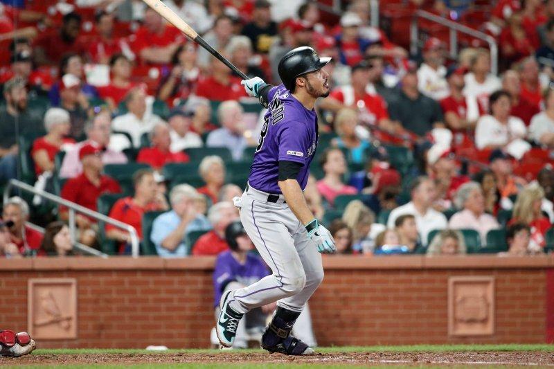 Colorado Rockies third baseman Nolan Arenado had a .253 batting average with eight home runs and 26 RBIs in the pandemic-shortened 2020 season. File Photo by Bill Greenblatt/UPI