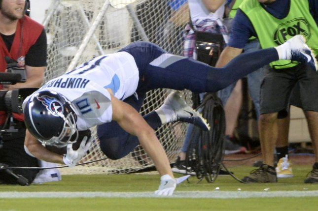 Adam Humphries, who was release by the Tennessee Titans on February 25, will spend the 2021 season with the Washington Football Team. File Photo by Joe Marino/UPI