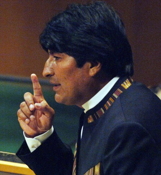 President Evo Morales Ayma of Bolivia addresses the United Nations General Assembly 62nd session in New York on September 26, 2007. (UPI Photo/Ezio Petersen)